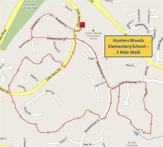 Hunters Woods Elementary School 3 Mile Walk Map