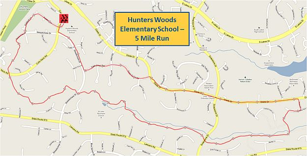 Hunters Woods Elementary School 5 Mile Run Map