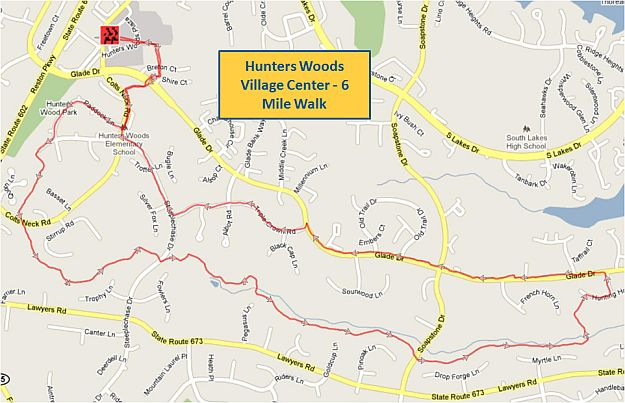 Hunters Woods Village Center 6 Mile Walk Map