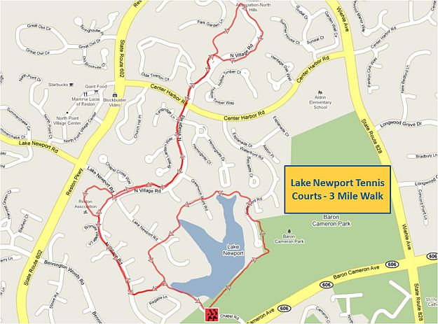 Lake Newport Tennis Courts 3 Mile Walk Map