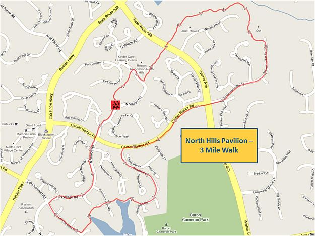 North Hills Pavilion 3 Mile Walk Map