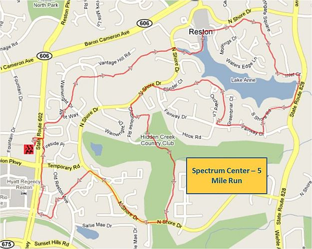 Spectrum Center 5 Mile Run Map